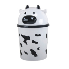 Cute vaca de leche de diseño de plástico flip-on basura