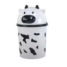Cute Milk Cow Design Plastic Flip-on Waste Bin