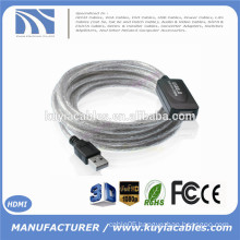 15Ft USB 2.0 Extension AA Booster Cable For Printer Webcam Keyboard Mouse 5M