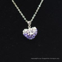 Arcilla cristalina Shamballa del color del gradiente de la llegada de la forma del corazón al por mayor nueva con el collar de las cadenas de plata