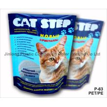 Pet / PE Stand Up Cat Litter Pouch avec Tear Notch