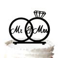 Mr & Mrs Silhouette Engagement Rings Cake Topper