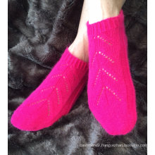 Luxury Ladies Willow design pure cashmere orchid pink footsie socks