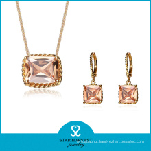 Latest Trend Colored Gold Plating Silver Jewelry Set (J-0161)