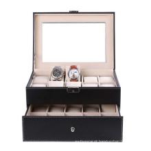 16 Slots Luxry Caixa de relógio com duas camadas para exibição
