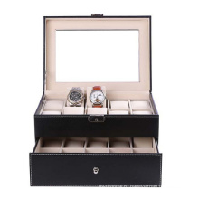 16 слотов Luxry Watch Box с двумя слоями для отображения