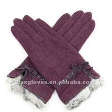 fashion cashmere gloves with fur cuff