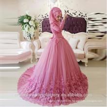 Vestido De Noiva diseñador de manga larga encaje vestido de bola 2017 vestido de boda musulmán con Hijab MW2182