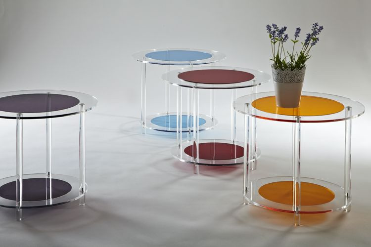Lucite Colored Round Coffee Table