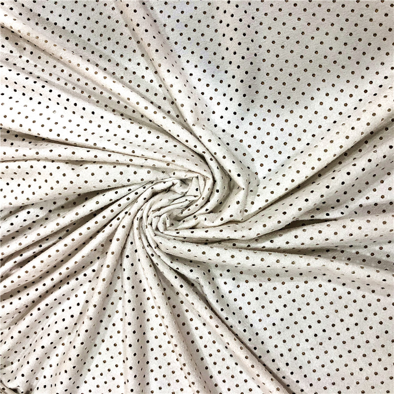 polyester spandex suede punch dots