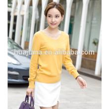 basic design V neck woman's cashmere sweater