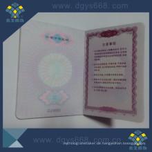 Benutzerdefiniertes Mitgliedschaftszertifikat Anti-Counterfeiting Printing