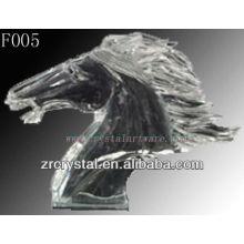 K9 mão de cristal esculpida cabeça de cavalo