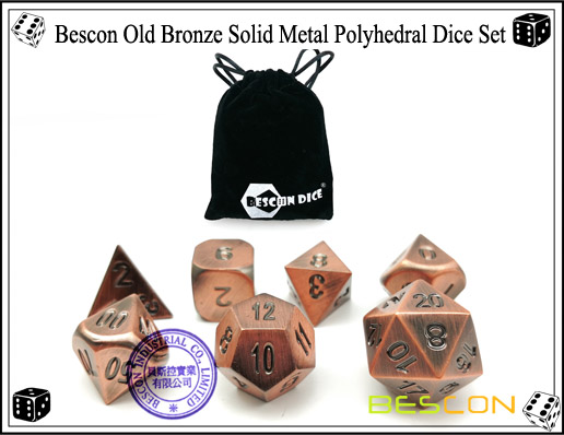 Bescon Old Bronze Solid Metal Polyhedral Dice Set-5