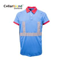 T-shirt de travail bleu à bande réfléchissante
