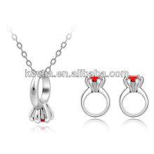 Ruby anel de jóias conjunto colar e anéis de jóias conjunto de homens gay conjunto de jóias anel