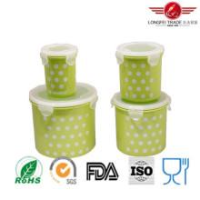 Boîte de rangement en plastique cylindrique de nourriture de 4PCS avec le couvercle hermétique
