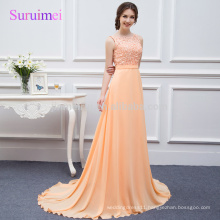100% Real photos Coral Lace Peach Chiffon Prom Dresses 2018A-Line O-neckline Latest Design Gorgeous Prom Party Gowns in Stock