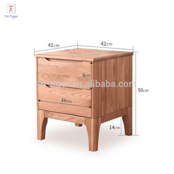 Modern simple wooden white oak bedside night stand for bedroom