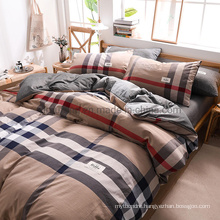 Wholesale Motel Luxury Trendy Sandy Brown Gingham Modern Design Cotton Bed Sheets