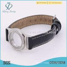 Leather watch locket bracelet,leather band bracelets jewelry