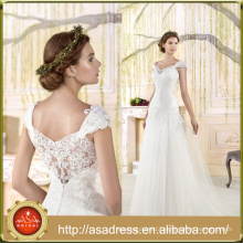 VIL-04 Custom made Cap Sleeves Buttons Back Sexy V-neck A-line Lace Appliques Wedding Gowns Floor Length Wedding Dress