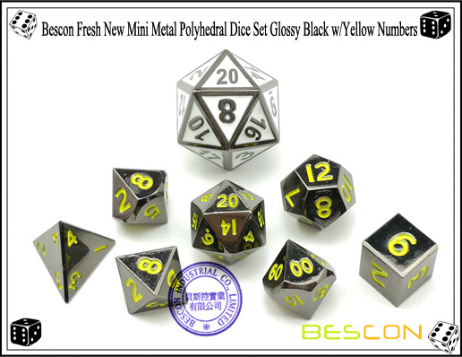 Bescon Fresh New Mini Metal Polyhedral Dice Set Glossy Black with Yellow Numbers-3