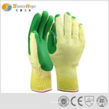 Luvas duras de látex sólido e verde para trabalhador