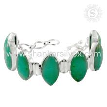 Preciosa pulsera de plata de piedras preciosas de ónix 925 pulsera de plata hecha a mano de plata esterlina