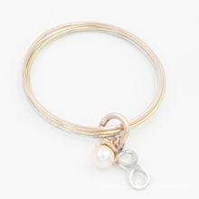 Novo design de moda empilhando jóias Bangle com pérola e encantos infinitos