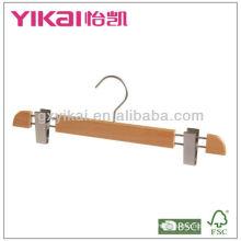 Cintre en bois de hêtre de haute qualité avec clips en métal