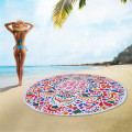 Large Round Charismas Beach Towel with Flower Pattern