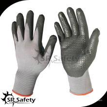 SRSAFETY 15G трикотажные нейлоновые и спандекс покрытые микропорами нитриловые перчатки / нитриловые рабочие точки перчатки
