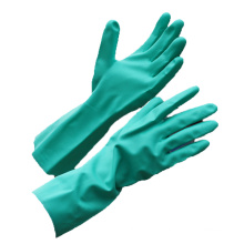 NMSAFETY green nitrile fully coated chemical gloves long