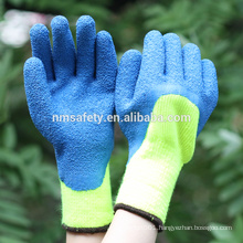 NMSAFETY Hi-viz yellow nappy acrylic liner coated green winter gloves