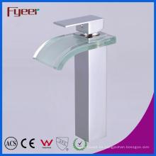 Fyeer High Body cromado color vidrio pomo cuadrado manija única Lavabo de baño latón grifo mezclador de agua grifo Wasserhahn
