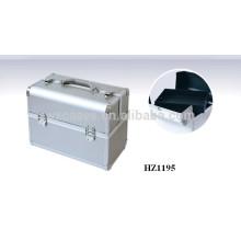 casos com bandejas dentro de sacos de cosmético profissional alumínio prata
