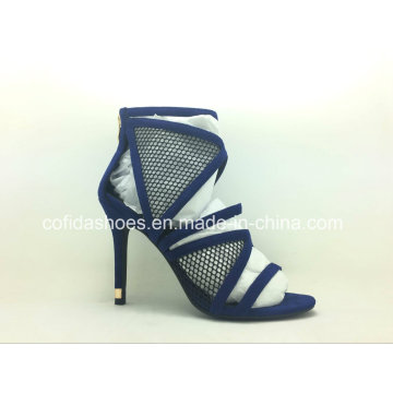 Marine-blaue hohe Absätze reizvolle Frauen-Sandelholz-Schuhe