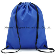 Azul promocional de peso ligero impermeable 210d nailon paquete de saco de espalda trasera