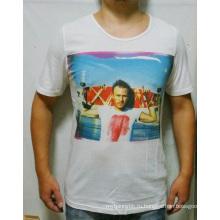 Изготовленный На Заказ Хлопок Оптовая Моды Белый Цифровой Печать Мужчины T-Рубашки