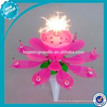 Precio barato de fuegos artificiales de rotación de 8 velas de cumpleaños música vela
