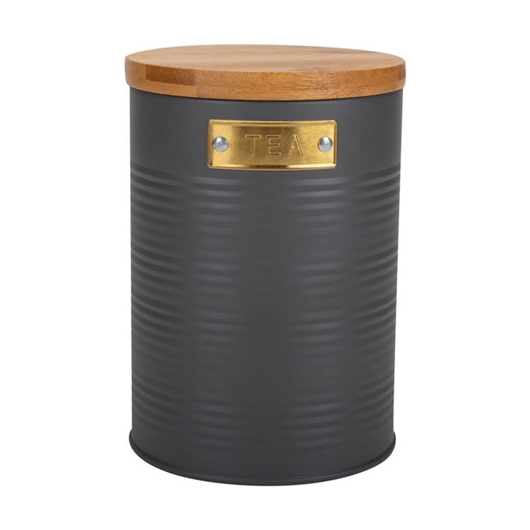 Galvanized Round Storage Tin Caddy Canister