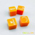 Vivid Color Orange Plastic Dice Cube with Custom Printing