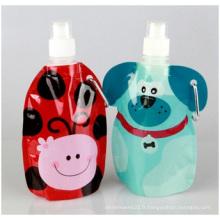 Bouteille d'eau pliante de haute qualité, bouteille pliante portative de sport de vert de bouteille d'eau pliable