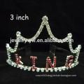 fashion metal silver plated crystal custom king crown headband