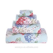 Luxury Velour design Printing Beautiful Flowers Wedding Gift towel set HTS-125 wholesale China Supplier