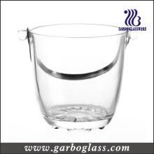 Seau à glace en verre de haute qualité avec poignée en acier inoxydable