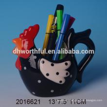2016 most popular chicken shaped ceramic pen holder,decorative pen holder