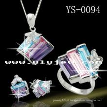 Conjunto de Jóias em Prata 925 Multil Color Set Cubic Ziconia Jewelley.