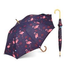 Neuer Flamingo-Wärmeübertragungs-Druck-Regenschirm mit Logo-Drucken